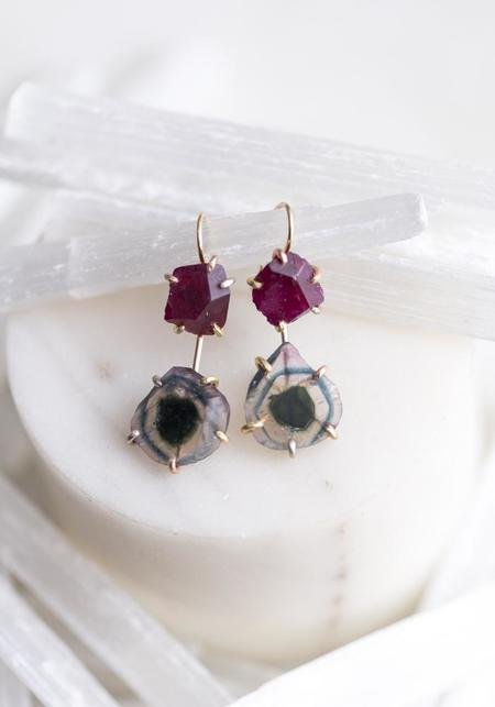 Variance Objects 14KT-18KT Gold Ruby Hook Earrings - Gold