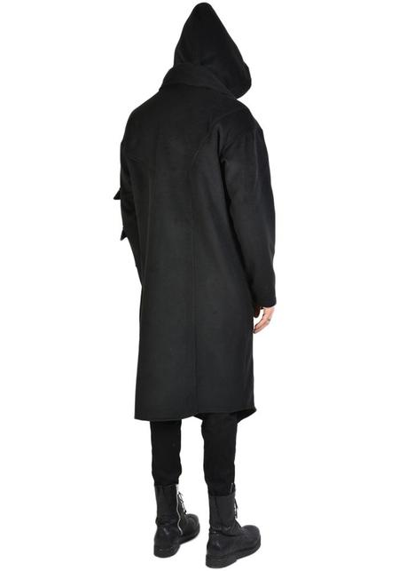 La Haine Asymmetric Shawl Collar Strap Detail Hooded Spinto Jacket - Black