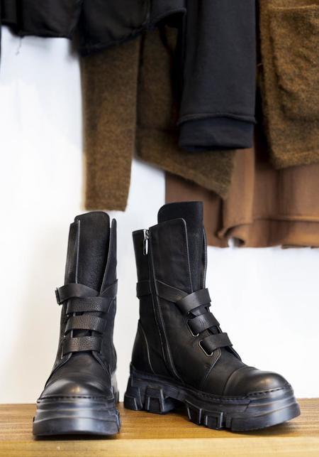 Lofina Leather Strap Detail Boot - Black