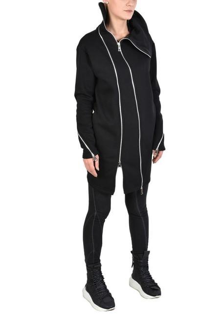 La Haine Oversized High Funnel Neck Asymmetric Zip Panel Fleece Juia Sweatshirt - Black