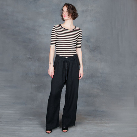 Black Crane Drawstring Pants in Black