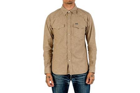 Iron Heart 10oz Selvedge Chambray Western Shirt - Khaki