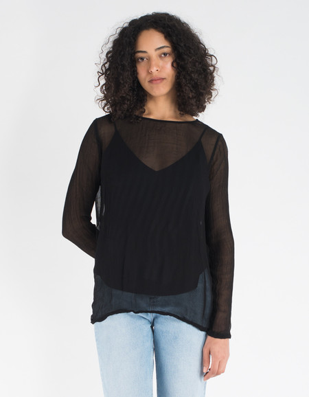 Lacausa Long Sleeve Pleat Top Tar
