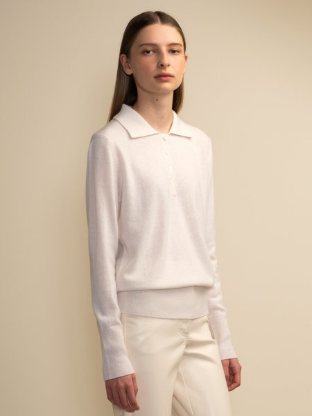 PURECASHMERE NYC Classic Polo Sweater - Vintage White
