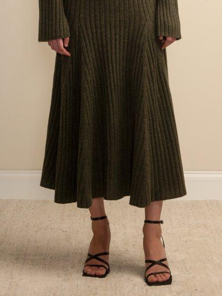 PURECASHMERE NYC Flared Rib Skirt - Military