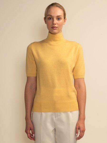 PURECASHMERE NYC High Neck Shortsleeve - Yellow