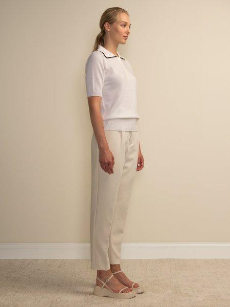 PURECASHMERE NYC Polo Shortsleeve - Vintage White