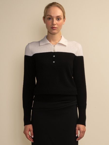 PURECASHMERE NYC Two-Tone Polo Sweater - White/Black