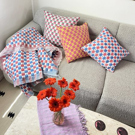 Suzani Pillow Checkered pillow - Red/Blue