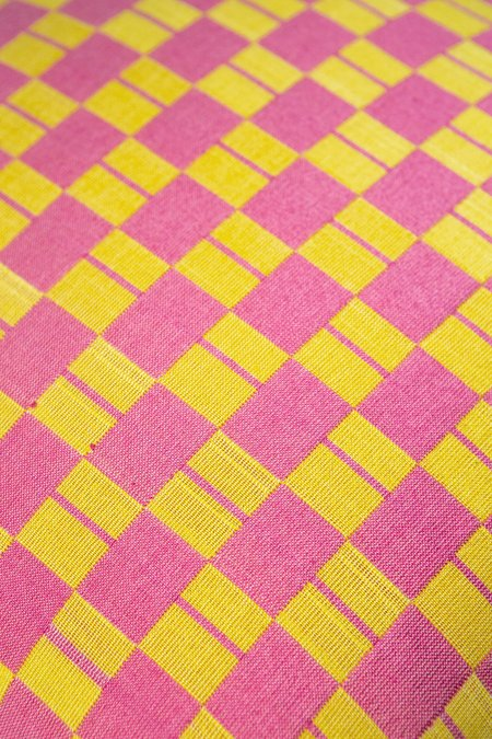 Suzani Pillow Checkered pillow - Yellow/Pink