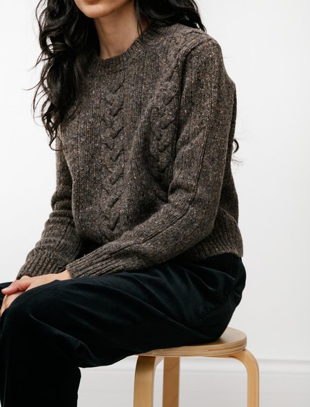 Margaret Howell Cable Sweatshirt - Soft Donegal Bracken
