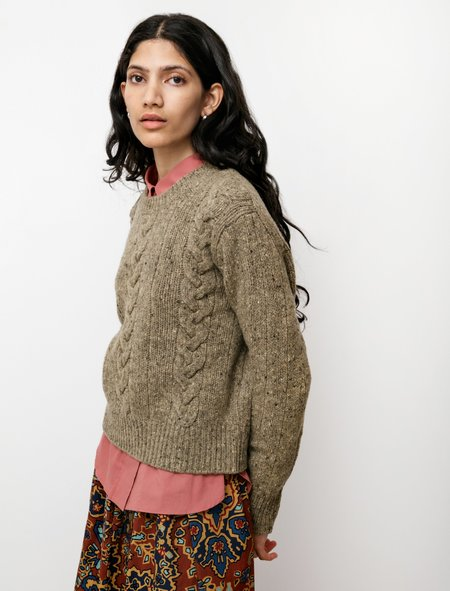 Margaret Howell Cable Sweatshirt - Soft Donegal Marsh