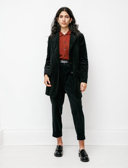 Margaret Howell Tapered Flat Front Trouser - 8 Wale Corduroy Black