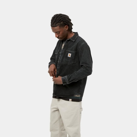 CARHARTT WIP Salinac Shirt Jacket - Black Stone Washed Denim