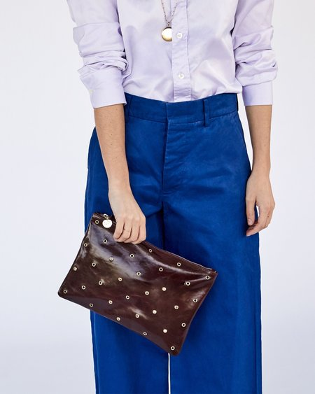Clare V. Flat Clutch with Tabs - Walnut/Grommets