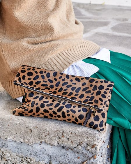 Clare V. Foldover Clutch - Leopard Hair-On