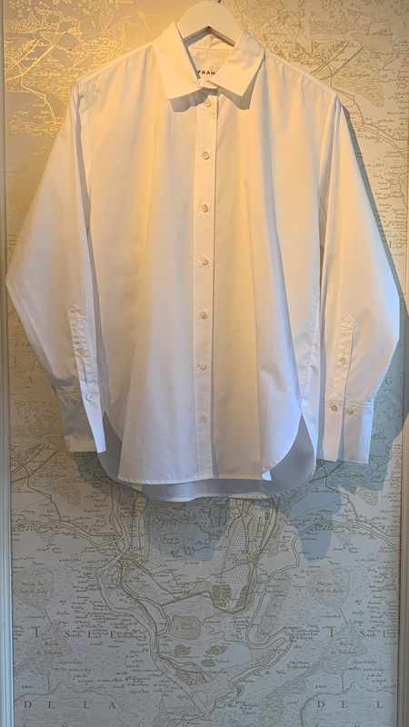 FRAME Denim Le Oversized Button Down Shirt - White
