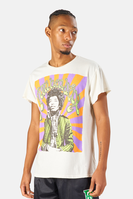 MadeWorn Rock Jimi Hendrix Psychedelic Graphic T-Shirt - Off White