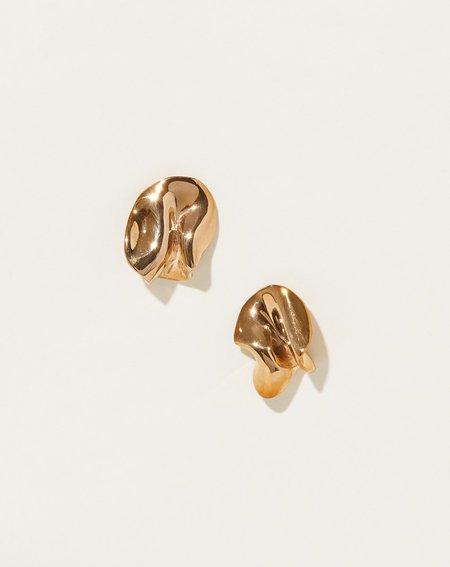 Modern Weaving Form Earrings - Bronze