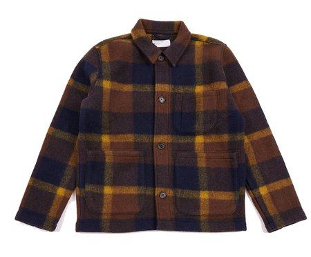 Universal Works Large Plaid Fleece Field Jacket - Navy/Yellow