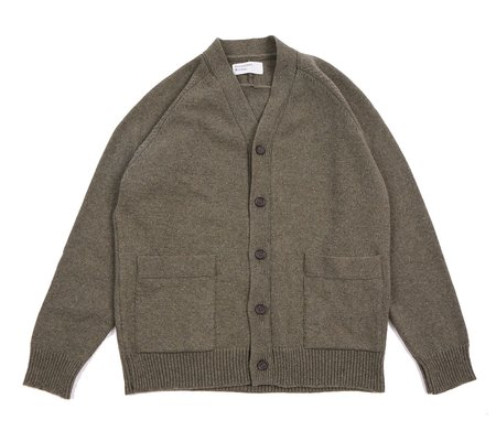 Universal Works VINCE CARDIGAN - COOL GREEN