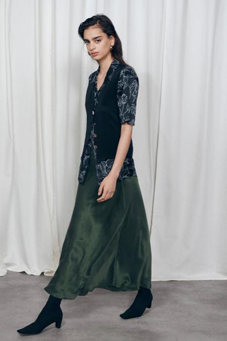 Silk Laundry Long Bias Cut Skirt - Cedar