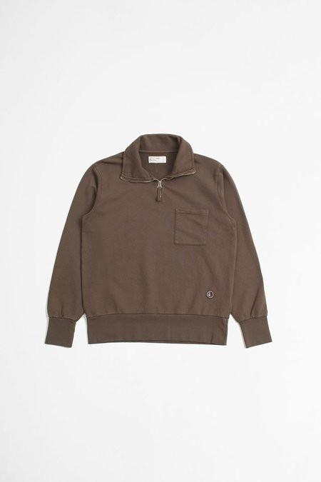 Universal Works Half Zip Sweatshirt - Light Brown