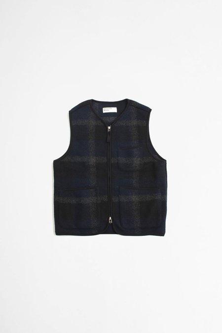 Universal Workslarge Plaid Fleece Zip Gilet - Black/Grey