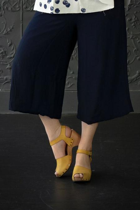 Lisa B. Peep Toe High Heel Clogs - Mustard