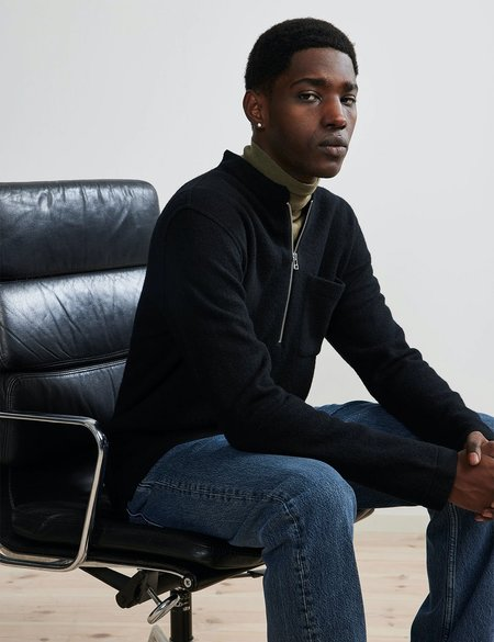 NN07 Carlos Half-Zip Sweater - Black