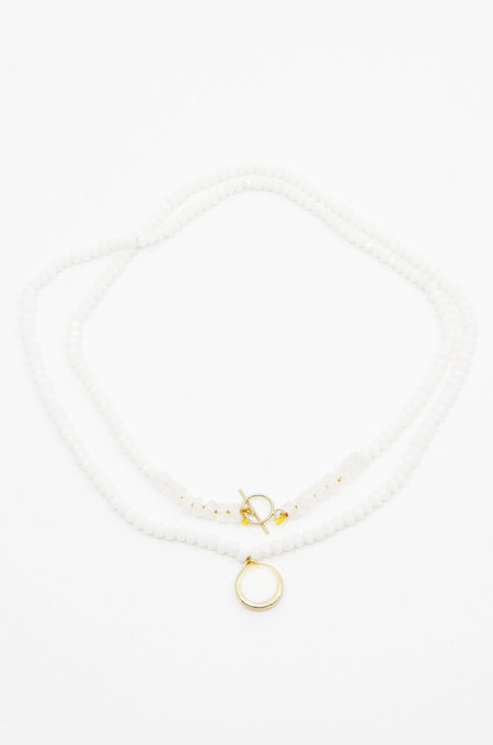 A. Carnevale LONG BEADED NECKLACE - WHITE