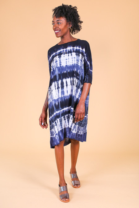 Raquel Allegra Cocoon Dress in Navy Tie Dye