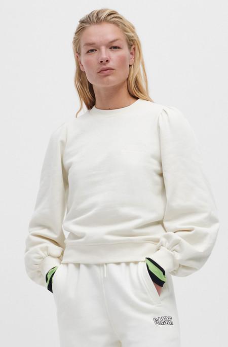 Ganni Puff Sleeve Sweatshirt - Beige