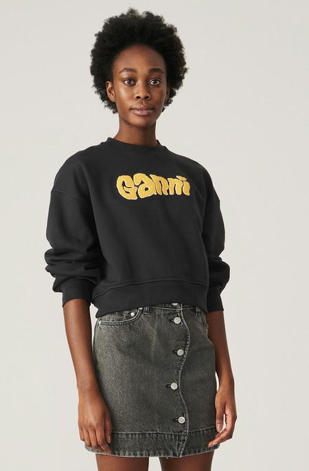 Ganni Cropped Logo Sweatshirt - Phantom
