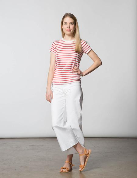 SBJ Austin Crewneck Tee - White & Red Stripe