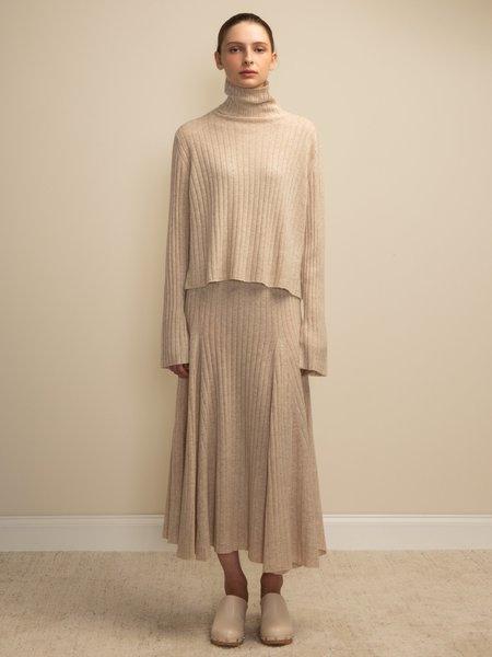 PURECASHMERE NYC Flared Rib Skirt - Oatmeal