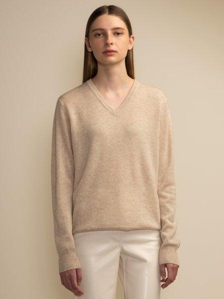 PURECASHMERE NYC V Neck Sweater - Oatmeal