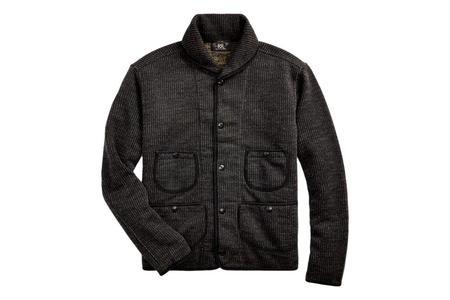 RRL Cotton-Blend-Jacquard Cardigan - Black Multi