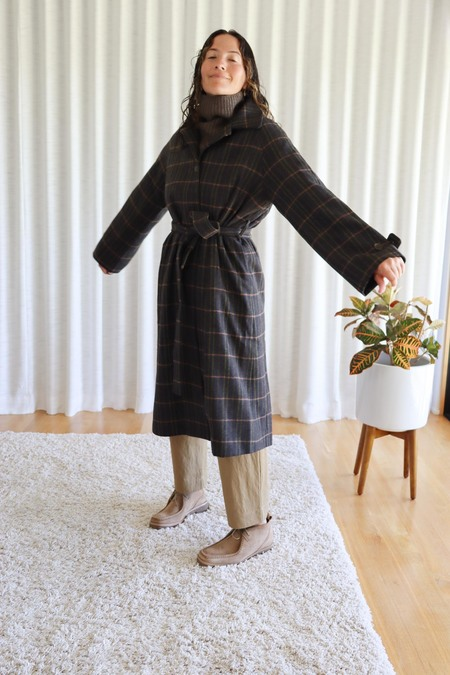 Mijeong Park Single Breasted Long Coat - Brown Plaid