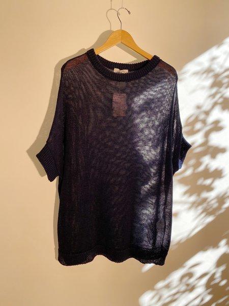 ICHI ANTIQUITES Gima Cotton Knit Pullover - Navy