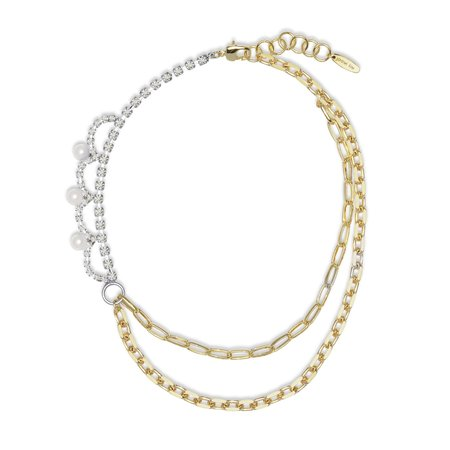 Joomi Lim Asymmetrical Double Layered  Looped Crystals & Pearls Chain Necklace