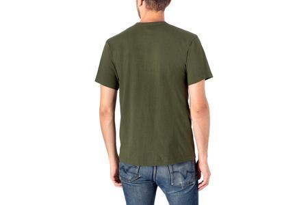 Iron Heart 6.5oz Loopwheel Crew Neck Longer Body T-Shirt - Olive