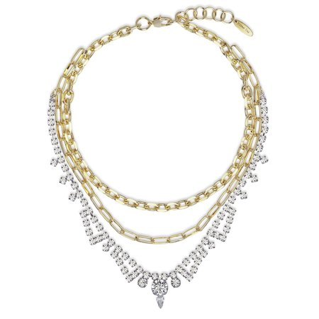 Joomi Lim Triple Layer Chain & Crystal Necklace