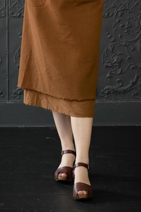 Lisa B. Peep Toe High Heel Clogs - Acorn
