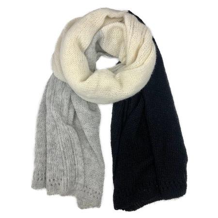 Megan Huntz Color Block Alpaca Wrap Scarf - black/gray/cream