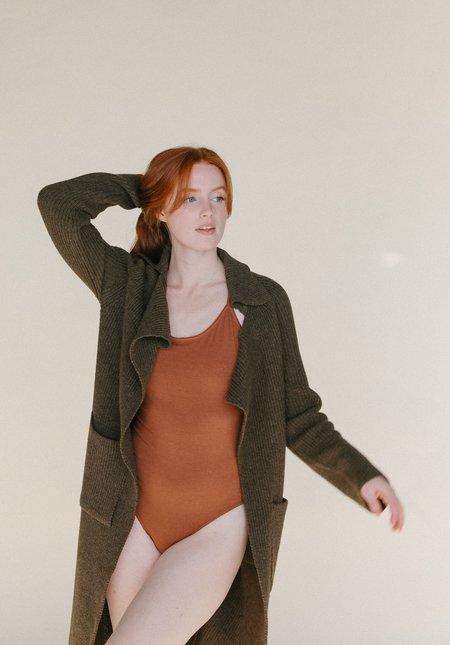 Mijeong Park Ribbed Knit Long Coat - Brown