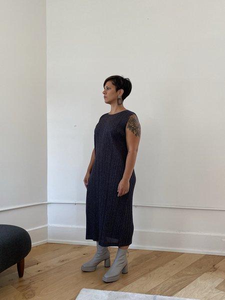 Pleats Please by Issey Miyake Ramie Pleats Dress - Black Hued
