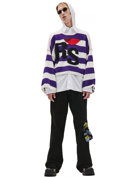 Raf Simons RS logo Knit Sweater - White/Purple