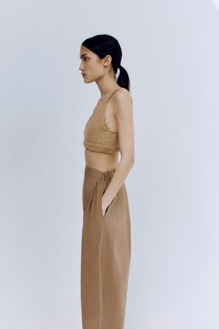 Monica Cordera Cotton Crossed Pants - Caramel