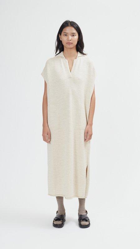 Lauren Manoogian Collar Caftan Dress - Ecru Slub